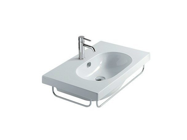 Rectangular wall-mounted ceramic washbasin EDEN - 75 CM | Wall-mounted washbasin by GALASSIA