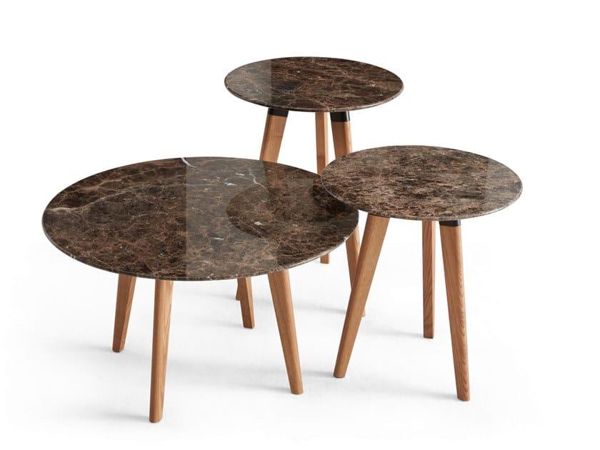 Tavolino di servizio rotondo in marmo EDGAR | Tavolino in marmo by Dema