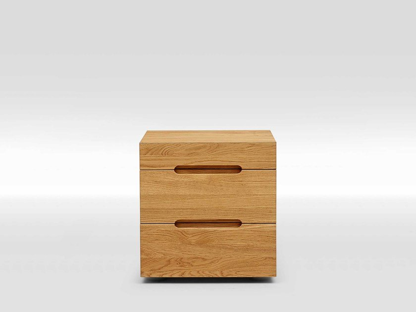 Oak bedside table with 3 drawers EDGE by Loof