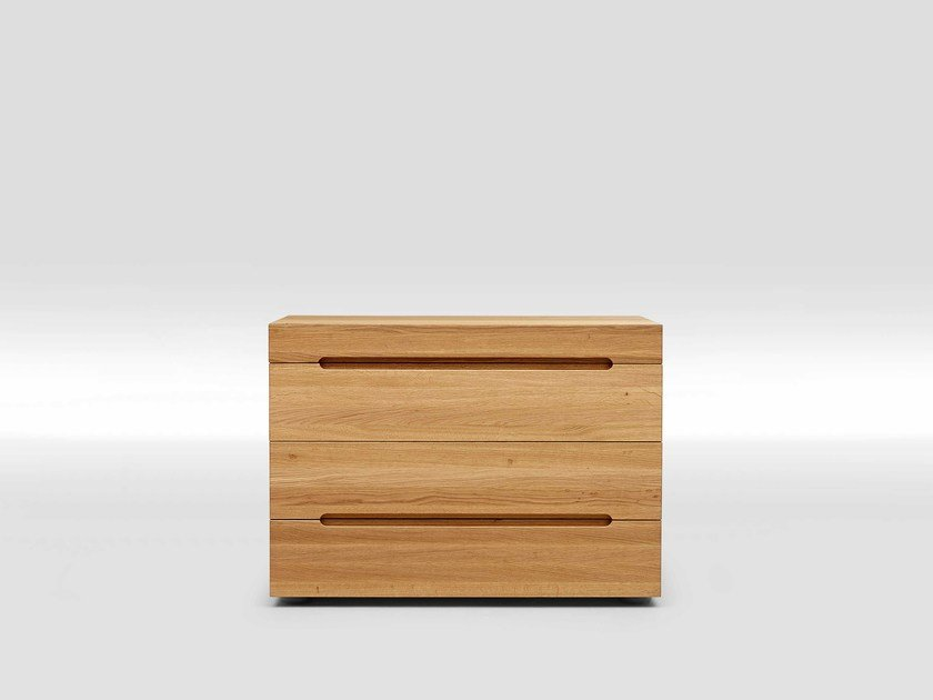 Oak bedside table with 4 drawers EDGE by Loof