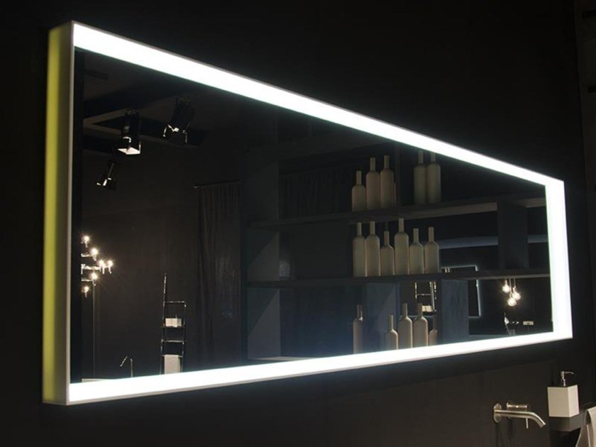 Framed Corian® bathroom mirror with integrated lighting EDGE by RIFRA