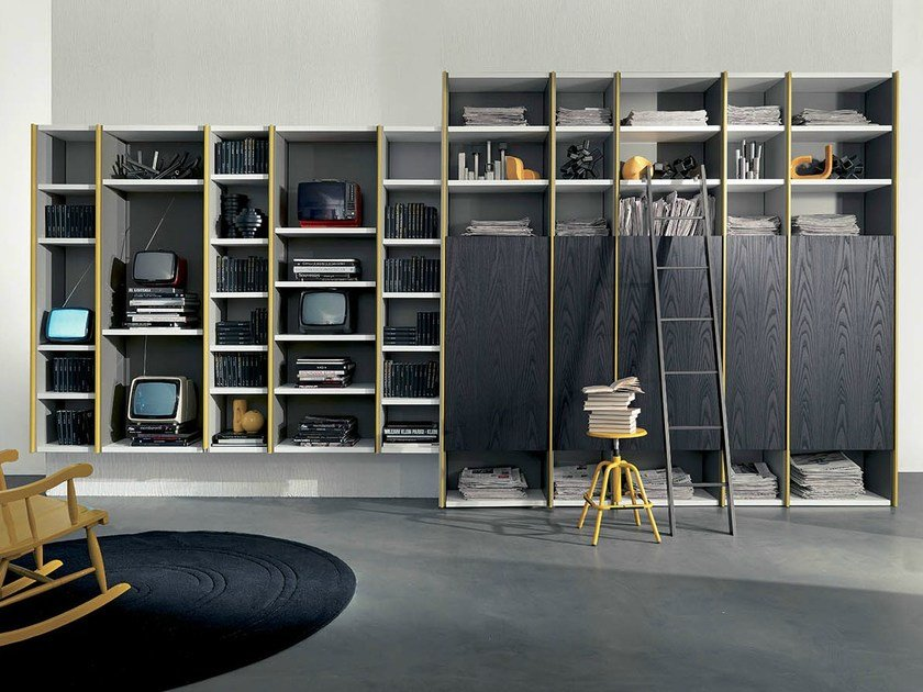 Open lacquered elm bookcase EDIS 5 by Fimar