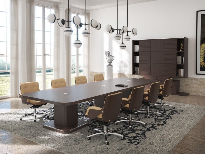 Rectangular meeting table with cable management EDOC | Rectangular meeting table by ARTOM by Ultom