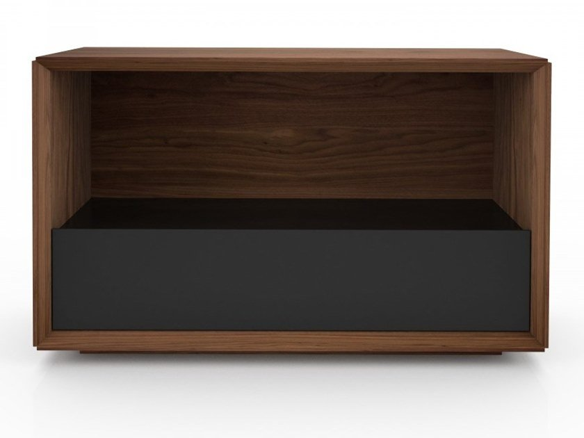 Rectangular walnut high side table with storage space EDWARD | High side table by Huppé
