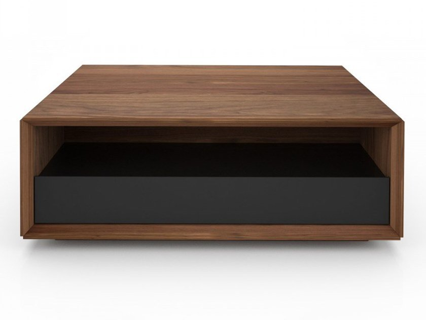 Low rectangular walnut coffee table with storage space EDWARD | Rectangular coffee table by Huppé