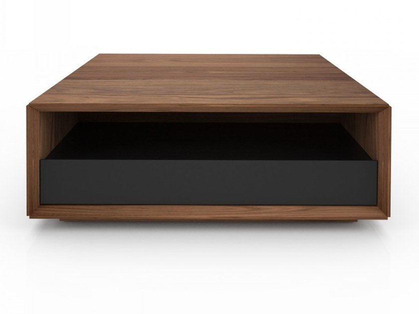 Square walnut coffee table with storage space EDWARD | Square coffee table by Huppé