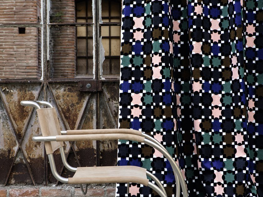 Embroidered fabric with graphic pattern EFFIGIE - CROSSROADS by Élitis