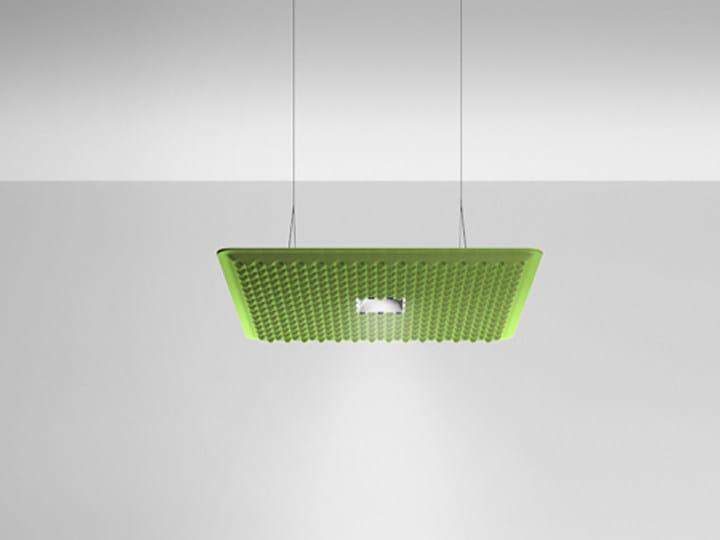 Hanging acoustical panel / pendant lamp EGGBOARD DOWNLIGHT 800X800 by Artemide