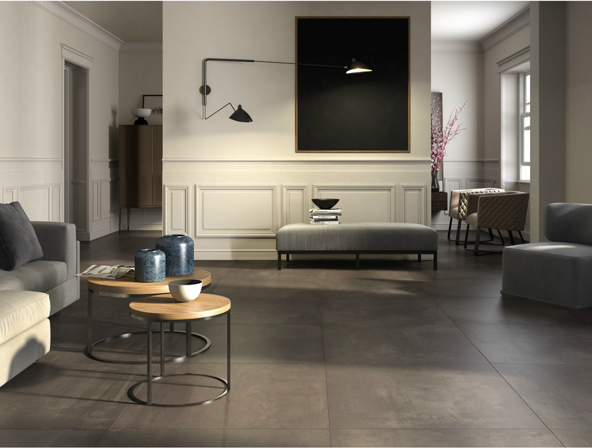 Porcelain stoneware flooring with concrete effect EGO by Ceramica d'Imola