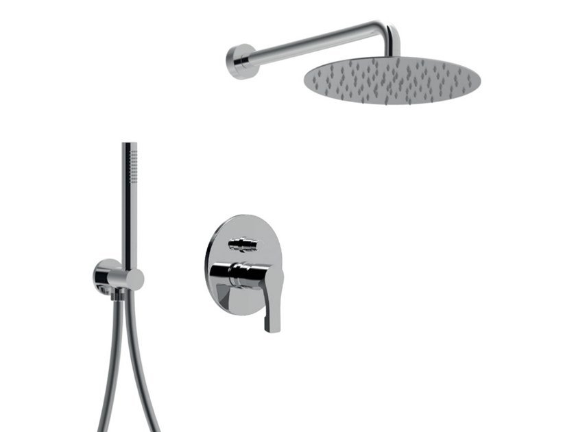 Single handle shower set with diverter with overhead shower EGO - F5713KB-25X by Rubinetteria Giulini