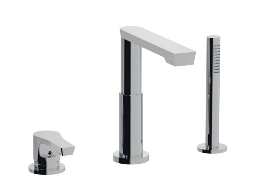 Deck mounted 3 hole bathtub tap with hand shower EGO - F5765BD by Rubinetteria Giulini