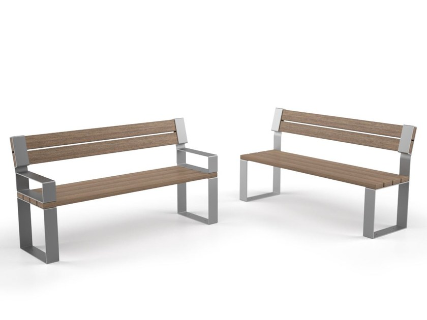 Steel and wood Bench with back EIGHT | Bench with back by LAB23