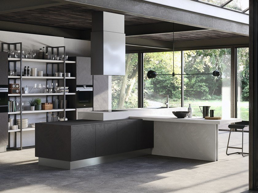 Kitchen with island without handles EKO | Kitchen with island by Pedini