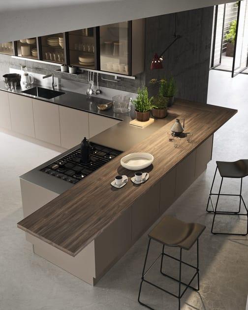 Kitchen with peninsula without handles EKO | Kitchen with peninsula by  Pedini
