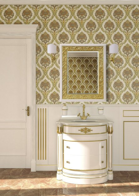 Lacquered vanity unit with mirror ELBA CM08E by LA BUSSOLA