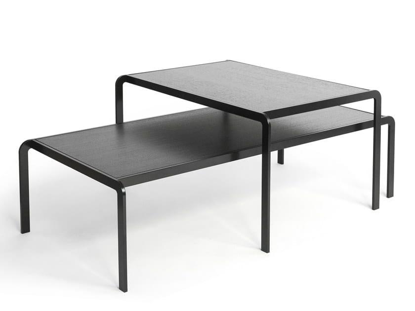 Low rectangular wood veneer coffee table ELBOW | Wood veneer coffee table by Caussa