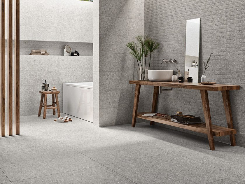 Ceramic wall tiles with concrete effect ELEMENTS by Revigrés