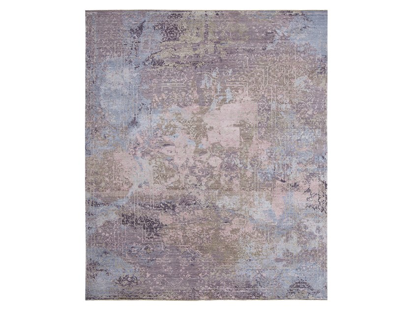 Handmade custom rug ELEMENTS SAVONNERIE PINK PURPLE by Thibault Van Renne