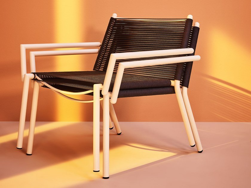 Garden nautical rope easy chair with armrests ELEVEN   Easy chair by Terraforma