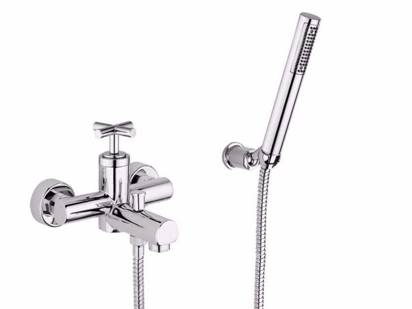 Wall-mounted bathtub tap with hand shower ELICA - F9201 by Rubinetteria Giulini