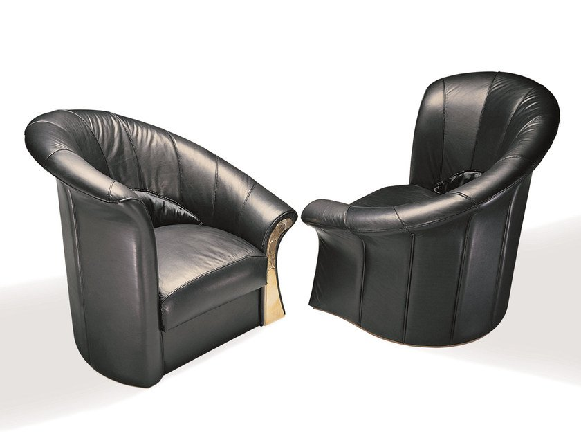 Upholstered leather armchair with armrests ELICA by Mirabili