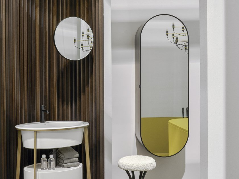 Oval wall-mounted mirror with cabinet ELIO by Ceramica Cielo