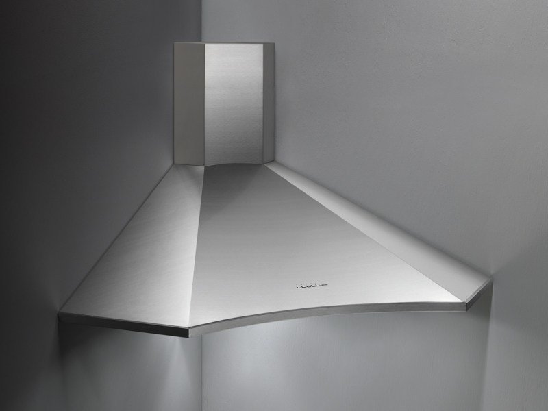 Corner stainless steel cooker hood with activated carbon filters ELIOS by Falmec