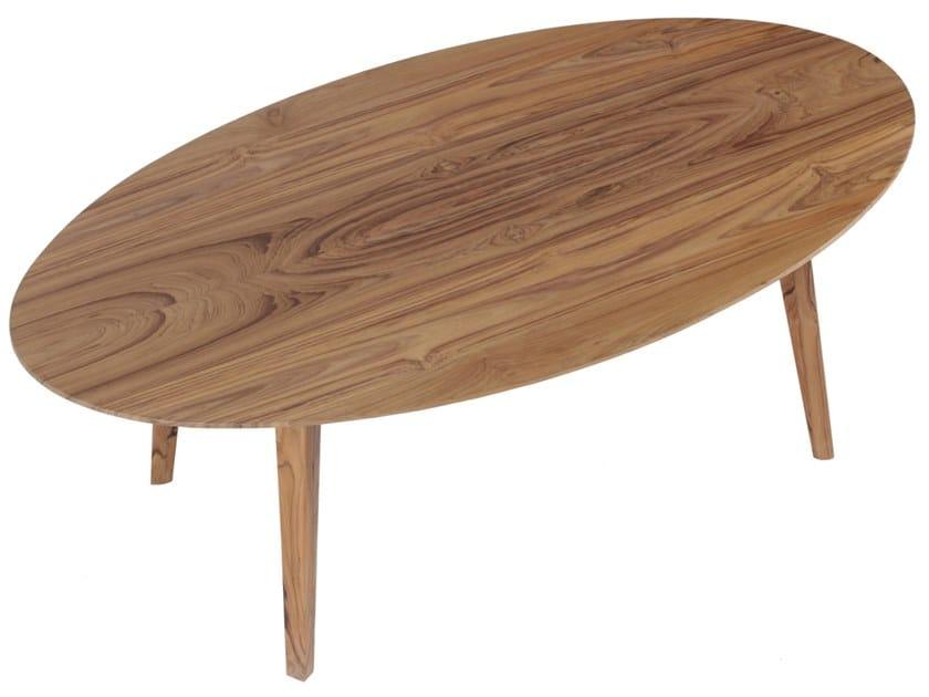 Low oval teak coffee table ELIPS by ALANKARAM