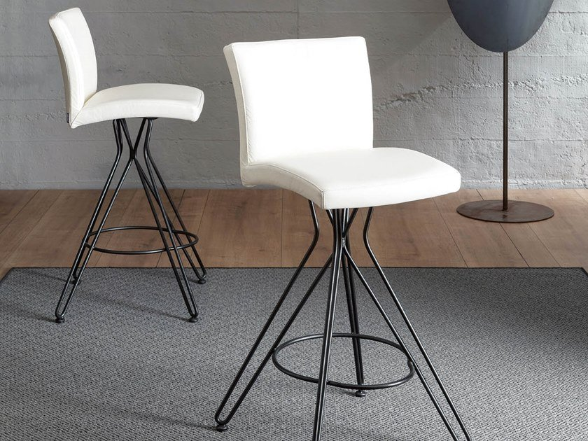 High upholstered leather stool ELITE by Ozzio Italia