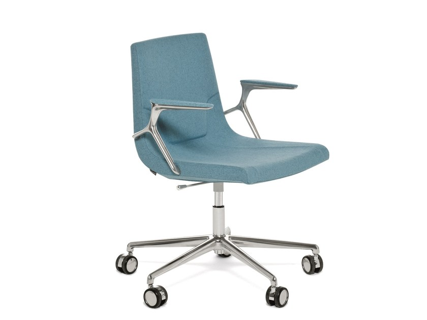 Swivel task chair with 5-Spoke base with armrests ELLE 48 | Task chair with armrests by Emmegi