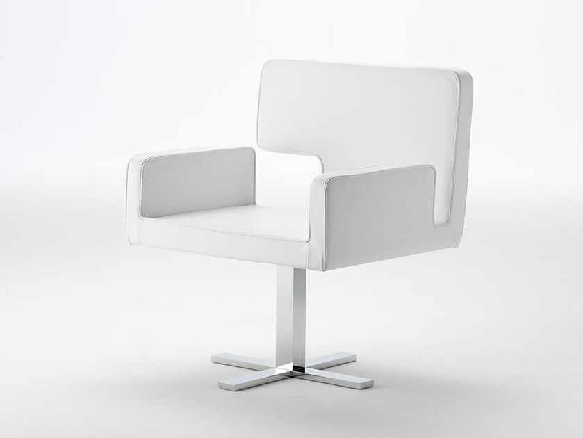 Leather chair with 4-spoke base ELLE   Chair with 4-spoke base by Paolo Castelli