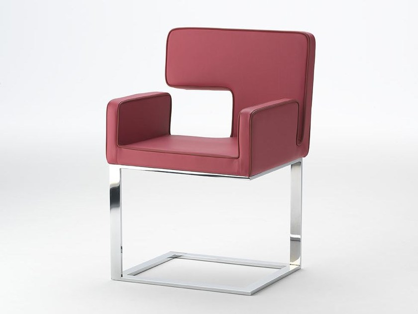 Leather chair with armrests ELLE | Chair with armrests by Paolo Castelli