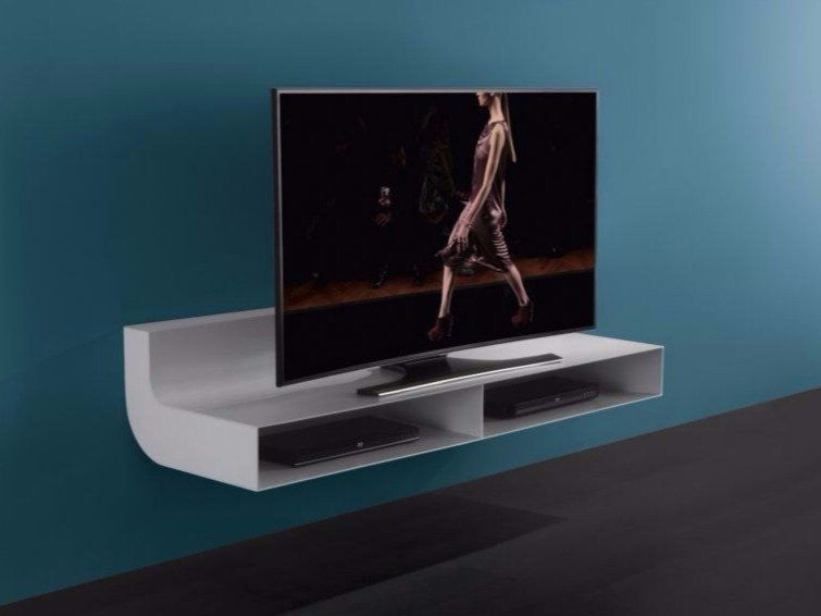 Wall-mounted glass and aluminium TV cabinet ÈLLE | Glass and aluminium TV cabinet by RES
