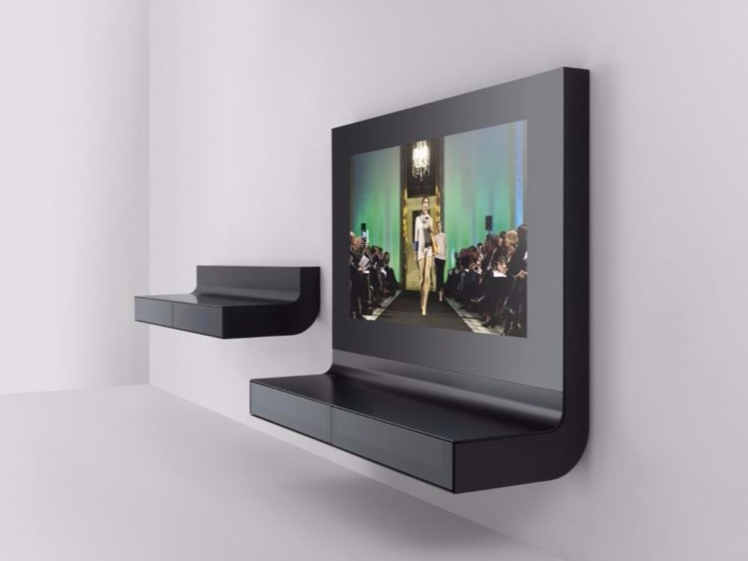 Wall-mounted glass and aluminium TV cabinet ÈLLE   TV cabinet by RES