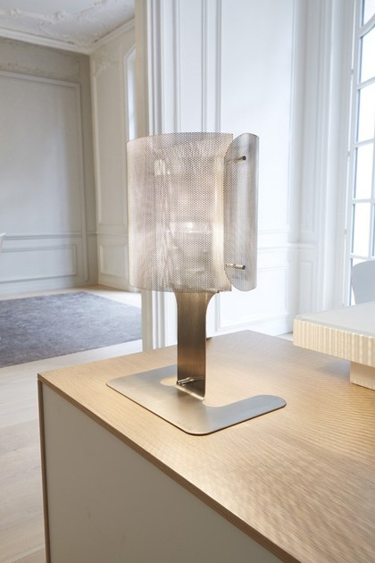 Contemporary style stainless steel table lamp ELLIPSE INOX N°2 by Thierry Vidé design