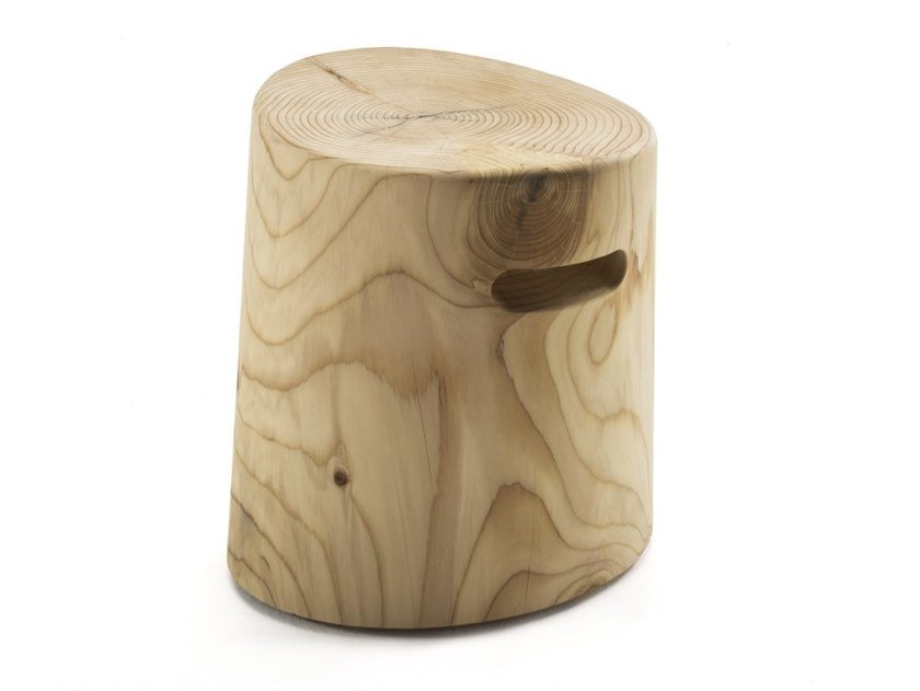 Cedarwood stool ELLISSE by Riva 1920