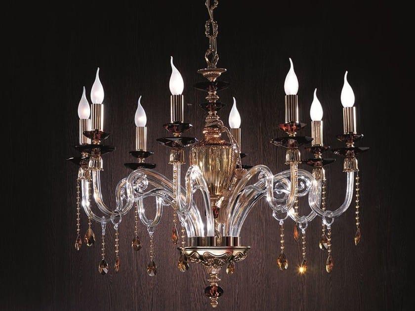 Brass chandelier ELSA L8 by Euroluce Lampadari