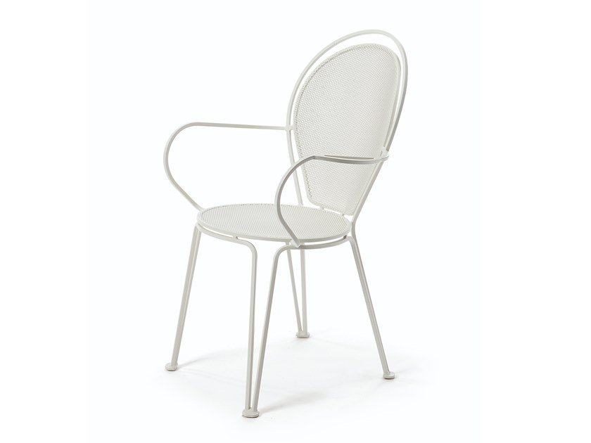 Stackable metal garden chair with armrests EMBASSY   Chair with armrests by Vermobil