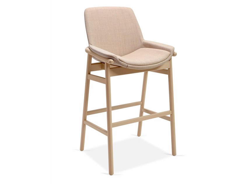 High upholstered fabric stool EMBRACE BAR by Fenabel