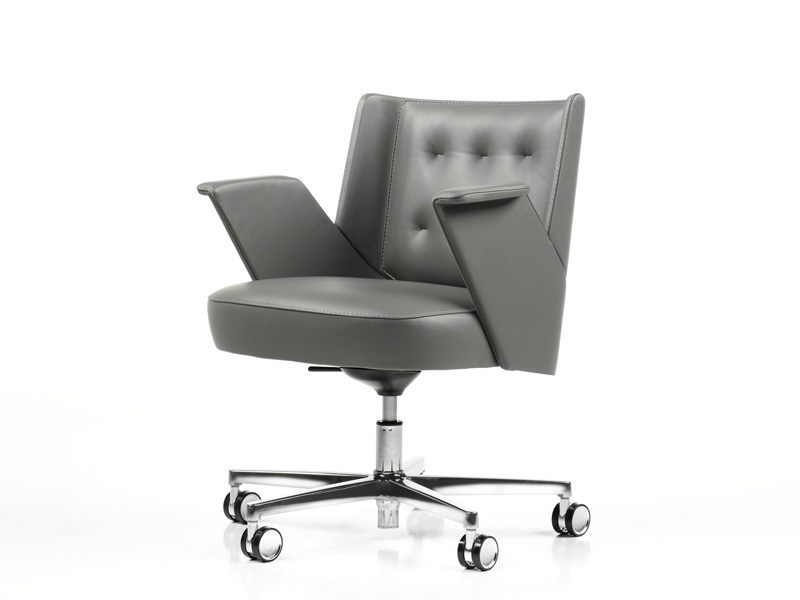 Leather task chair with casters EMBRACE | Task chair with casters by ESTEL GROUP