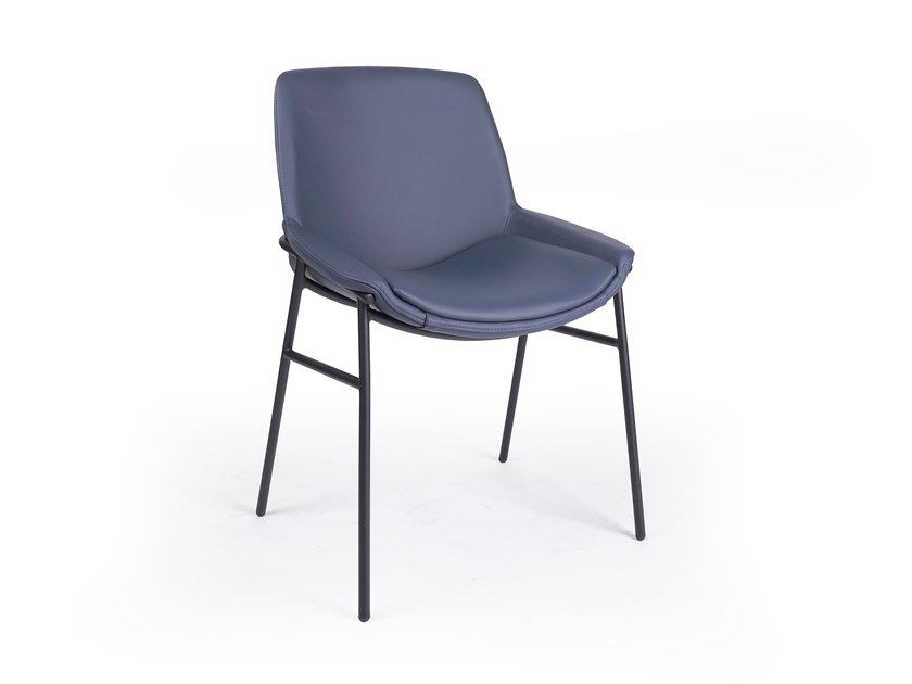 Upholstered leather chair EMBRACE METAL by Fenabel