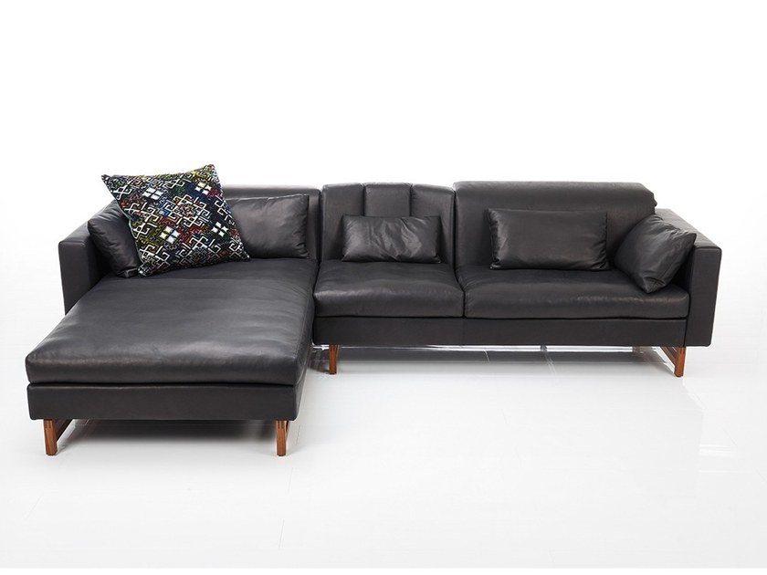 3 seater leather sofa with chaise longue EMBRACE | Sofa with chaise longue by brühl