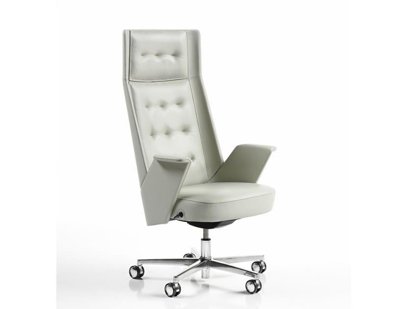 Cadeira executiva de pele com encosto alto EMBRASSE | Cadeira executiva com encosto alto by ESTEL GROUP
