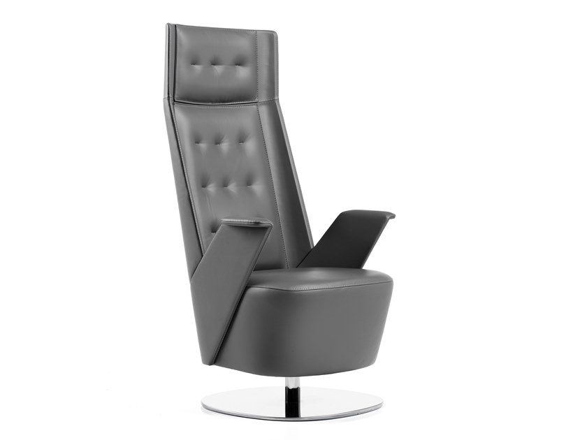 Tufted leather easy chair high-back EMBRASSE LOUNGE | Easy chair high-back by ESTEL GROUP