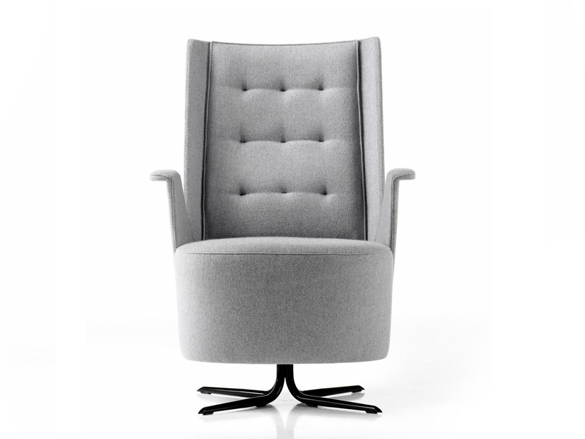 Tufted fabric easy chair with 4-spoke base EMBRASSE LOUNGE | Fabric easy chair by ESTEL GROUP