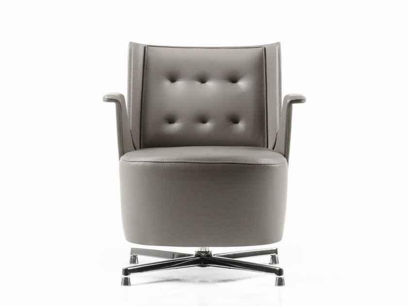 Tufted leather easy chair with 4-spoke base EMBRASSE LOUNGE | Leather easy chair by ESTEL GROUP