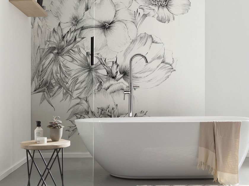 Nonwoven wallpaper with floral pattern EMBROIDERY by Komar