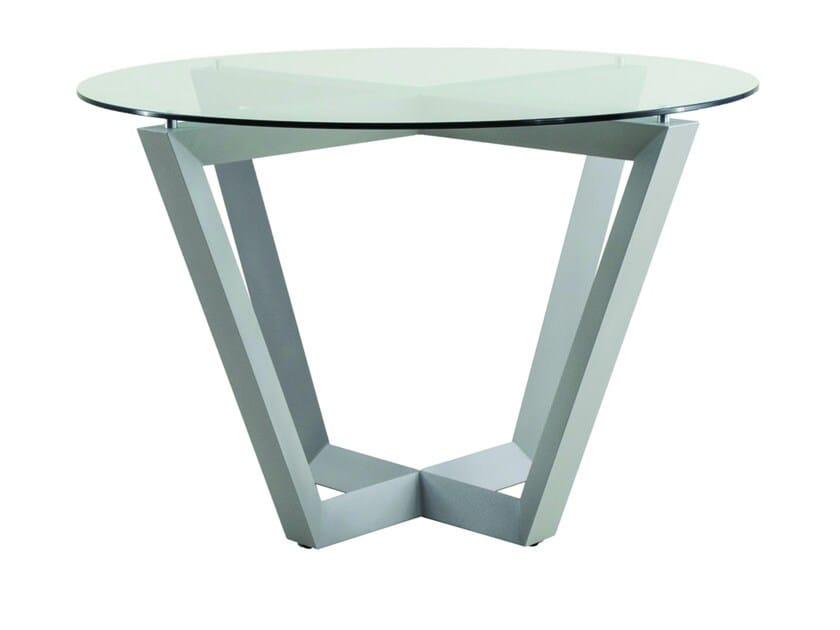 Round glass garden table EMILY   Aluminium garden table by Efasma