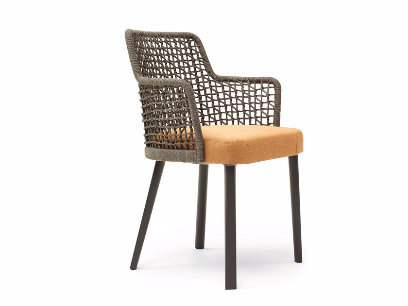 Rope garden chair with armrests EMMA | Rope chair by Varaschin