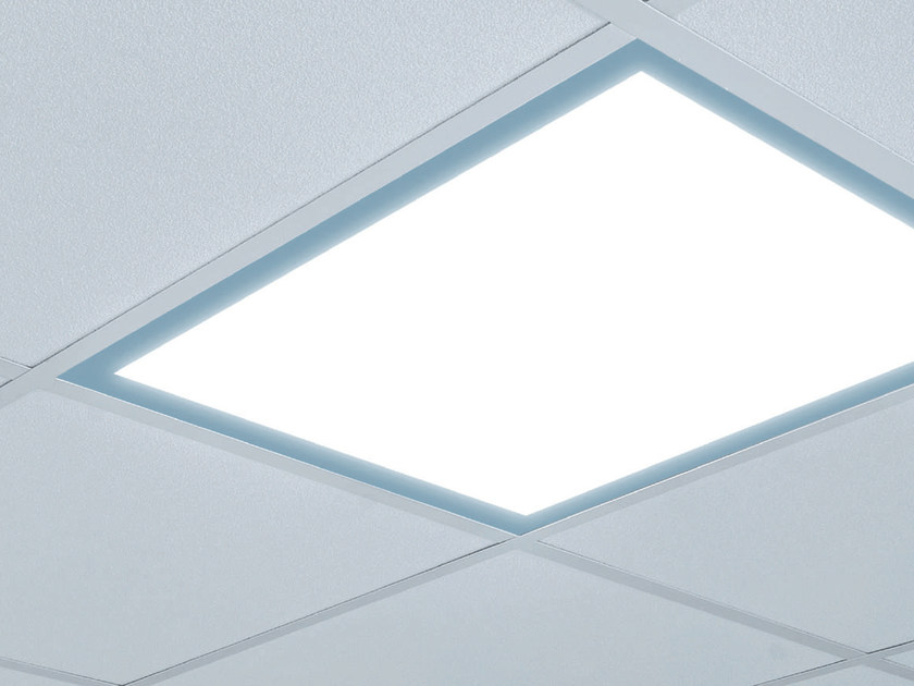 LED direct-indirect light tempered glass Lamp for false ceiling EMOTECA by PLEXIFORM